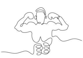 Un dessin au trait continu du boxeur de la jeune femme sportive pose comme un gagnant. un boxeur professionnel gagne dans les matchs de boxe. concept de sport de combat compétitif isolé sur fond blanc. conception de minimalisme