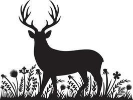 silhouettes d'herbe de cerf floral - fleurs et plantes vector illustration