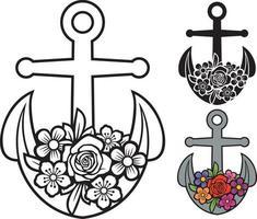 ancre avec illustration vectorielle fleur vecteur