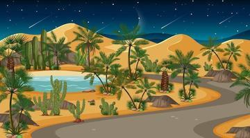 scène de paysage de forêt du désert la nuit vecteur