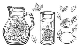 cruche en verre avec de la limonade, croquis de limonade maison, illustration de l'été. citron dessiné à la main, tranche de citron, paille. l'inscription sur la limonade. vecteur