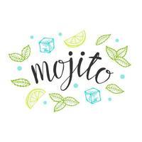 lettrage mojito cocktail classique illustration vectorielle dessinés à la main. avec de la glace et une tranche de citron vert et feuilles de menthe, pour les cartes de cocktails. lettrage de mojito fait maison, illustration vectorielle isolé vecteur
