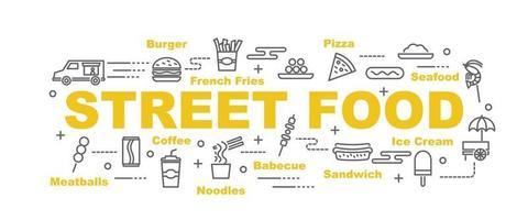 bannière de vecteur de nourriture de rue