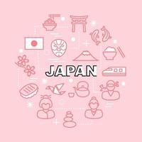 icônes de contour minimal japonais vecteur