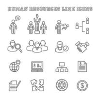 icônes de ligne de ressources humaines