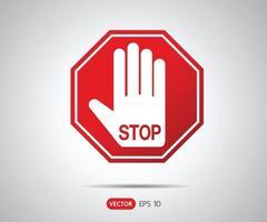 Arrêtez le signe octogonal de la main pour les activités interdites, illustration vectorielle de logo vecteur