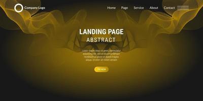 page de destination de site Web abstrait avec des lignes ondulées jaunes vecteur