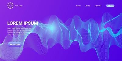 fond de courbe de vague abstraite en dégradé bleu et violet vecteur