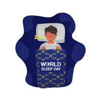 illustration homme endormi pour la journée mondiale du sommeil vecteur