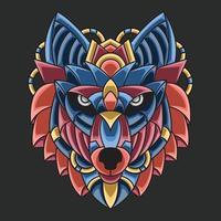 ornement coloré abstrait doodle art vecteur de concept de dessin animé de loup illustration. Convient pour le logo, le papier peint, le tatouage, l'arrière-plan, la carte, l'illustration de livre, la conception de t-shirt, l'autocollant, la couverture, etc.