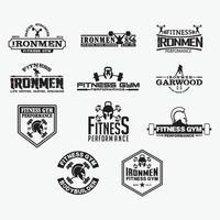ensemble de modèles de conception de logos de badges de remise en forme vecteur