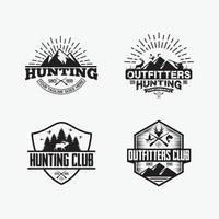 modèles de conception de logos de badges de chasse vecteur