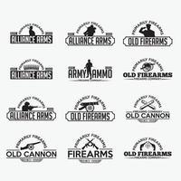 insignes et logos d'armes à feu modèles de conception de vecteur
