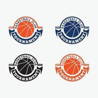 ensemble de modèles de conception de logos badges de basket-ball vecteur