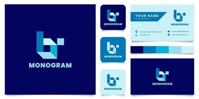 logo de lettre b isométrique bleu simple et minimaliste avec modèle de carte de visite vecteur