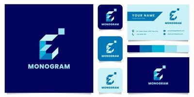 logo de lettre e isométrique bleu simple et minimaliste avec modèle de carte de visite vecteur