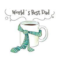 Tasse mignonne avec cravate bleue à la fête des pères vecteur