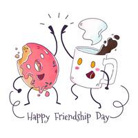 Tasse de café mignon et personnage Donut jouant au jour de l'amitié vecteur