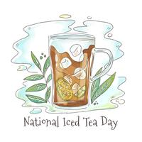 Verre à thé glacé mignon avec du citron vert et des feuilles vecteur