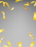 clipart de vecteur de rubans dorés. luxe volant confettis or et étoiles isolés sur fond transparent