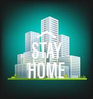 rester à la maison. logo de la campagne de protection contre les coronavirus avec maisons vecteur