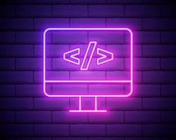 codage icône de programmation néon vecteur