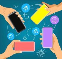 mains avec les smartphones modernes. communication sur les réseaux sociaux vecteur