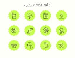ensemble d'icônes vectorielles doodle isolé sur blanc. icônes web set 3 vecteur