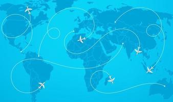 carte du monde avec illustration vectorielle de trajectoires d & # 39; avion vecteur