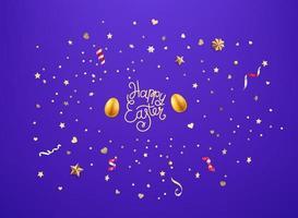 oeuf d'or et confettis dorés et étoiles joyeuses pâques vecteur