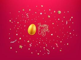 oeuf d'or et confettis dorés et étoiles. joyeuses Pâques vecteur