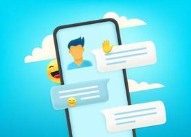 chatter via un smartphone moderne. dialogue avec un jeune homme vecteur