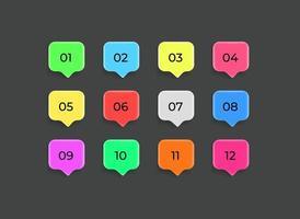 nuages de discours de couleur avec des chiffres. jeu de balles vectorielles infographiques vecteur