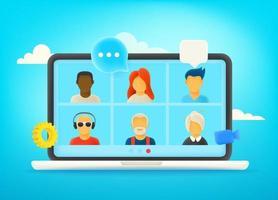 conversation vidéo via Internet. dialogue avec l'équipe commerciale. travail à distance vecteur