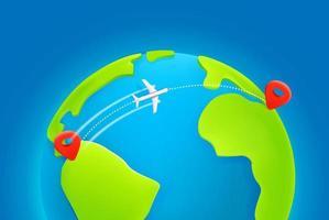 Trajectoire de vol d'un avion de ligne d'un continent à l'autre avec trace de tirets vecteur