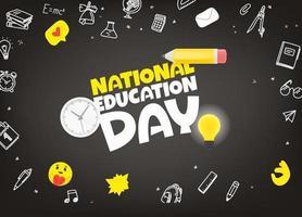 carte de voeux de la journée nationale de léducation vecteur