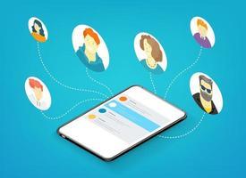 personnes travaillant ensemble à distance via une application mobile. illustration vectorielle isométrique isolée sur fond blanc