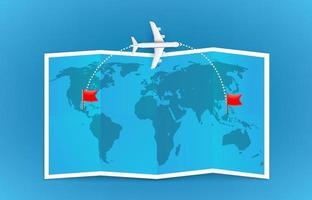 Trajectoire de vol d'avion de ligne d'un pays à l'autre avec trace de tirets vecteur