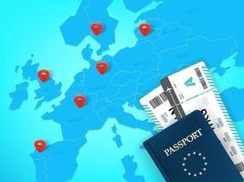concept de vecteur de destinations de voyage avec la carte et les billets