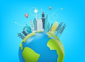 concept de voyage dans le monde avec des sites célèbres du monde vecteur
