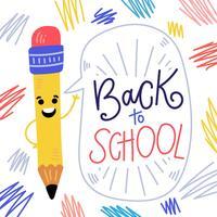 Caractère de crayon mignon souriant avec bulle de dialogue et inscription à la main sur l'école vecteur