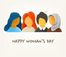 concept de jour de femme heureuse. femmes de race et de culture différentes. Illustration vectorielle mignon style 3D vecteur