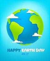 carte de vecteur joyeux jour de la terre. Illustration vectorielle de style 3D
