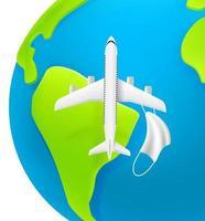 voyager après le concept de quarantaine. avion moderne avec une ombre sur la terre vecteur