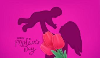 bannière de vecteur de bonne fête des mères. effet découpé avec la silhouette de la femme