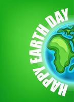 illustration vectorielle heureux jour de la terre. carte avec la terre et inscription vecteur