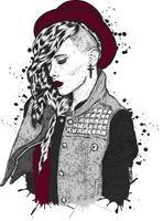 belle fille hipster dans un chapeau et des vêtements élégants vecteur