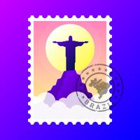 Rio De Janeiro Voyage Timbre Brésil Illustration vectorielle vecteur