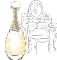 coiffeuse vintage et flacon de parfum. vecteur