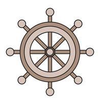 volant marin. le gouvernail du navire est brun. vecteur